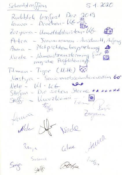 Protokoll vom Schreibtreffen 05.01.2020