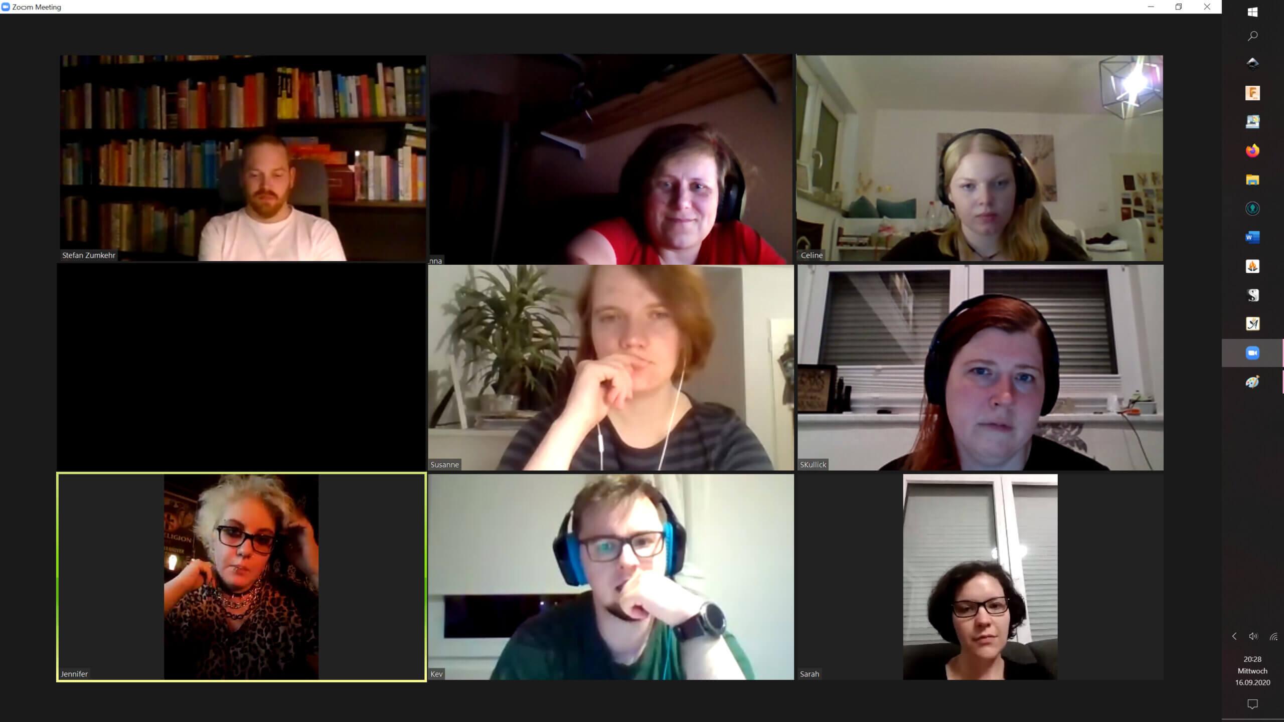 Schreibgruppe am 16.09.2020 - in World Wide Web